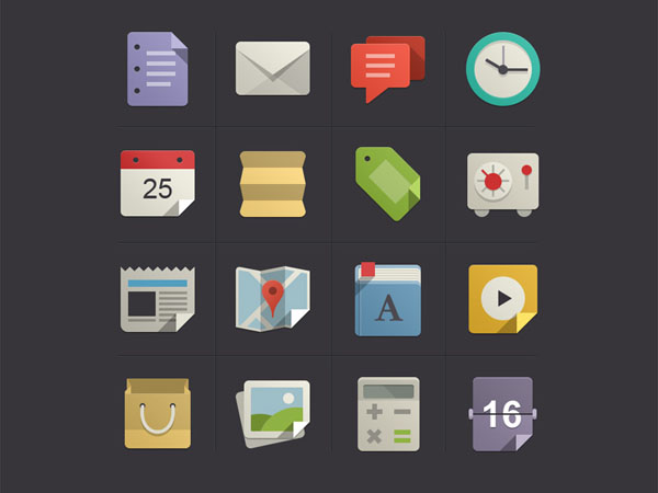 Flat Icons Designs Awesome Examples