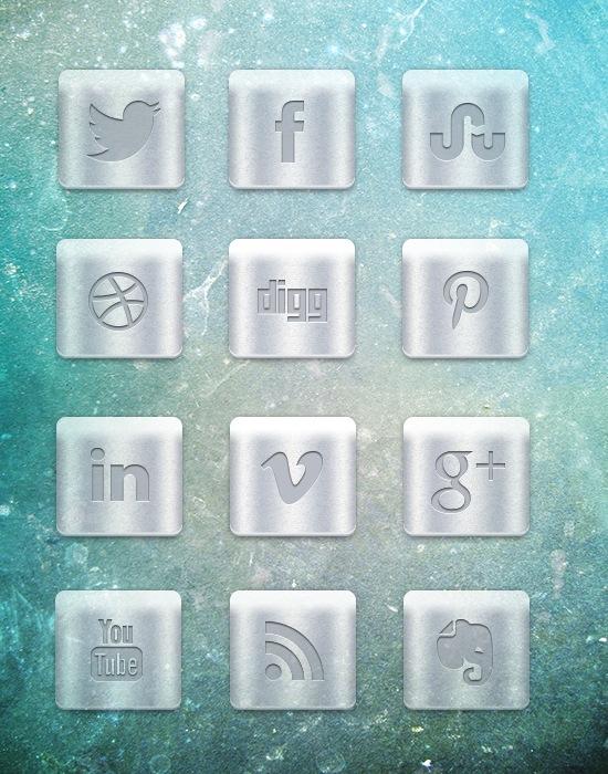 Beautiful Metallic Social Media Icon Designs