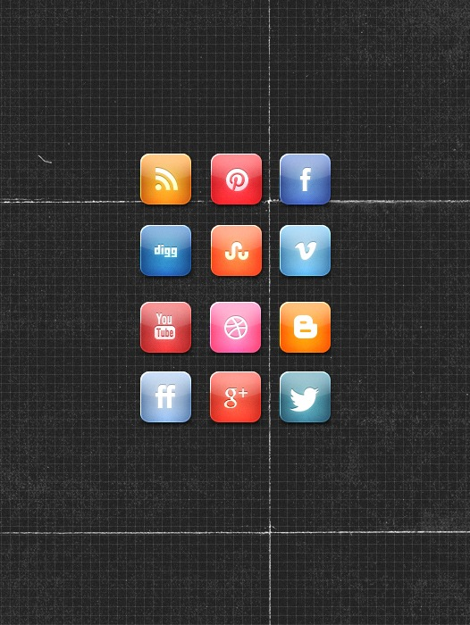 Download Glossy Style Social Media Icon Set Free