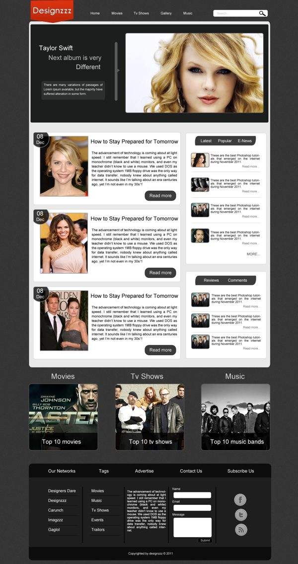 Entertainment and Lifestyle PSD Templates Free