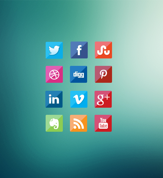 Free Glossy Fade Social Media Icons Designs