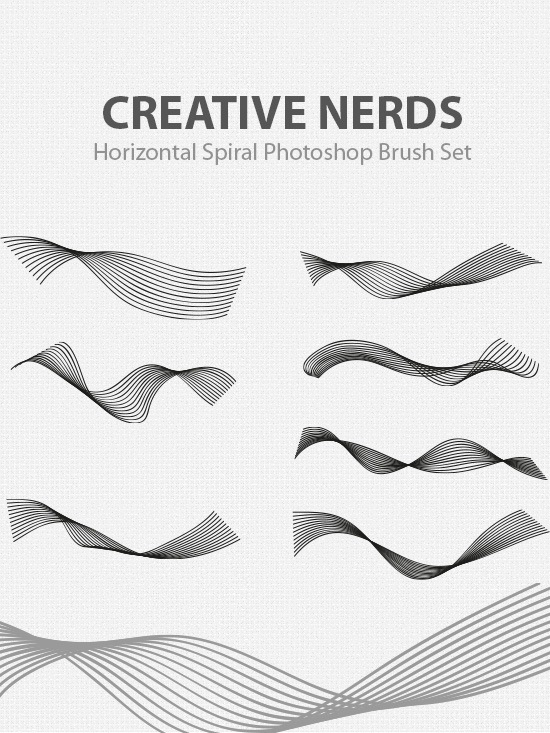 Free Horizontal Spiral Photoshop Brush Set Download