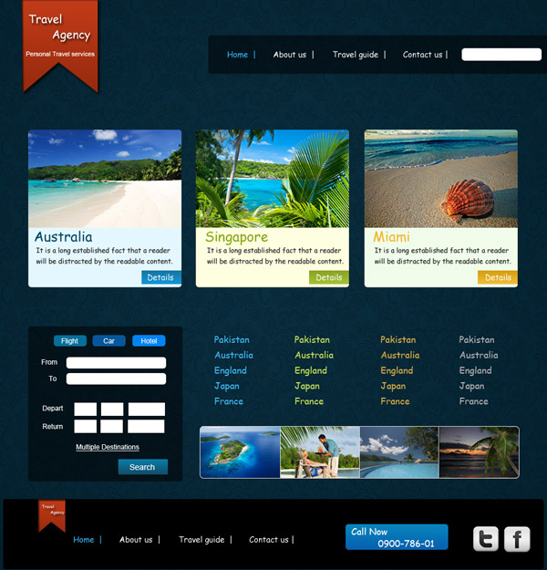 Free Travel Agency PSD Templates to Download