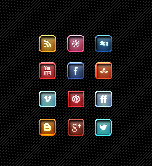 Marvelous Letter Pressed Social Media Icon Designs Free