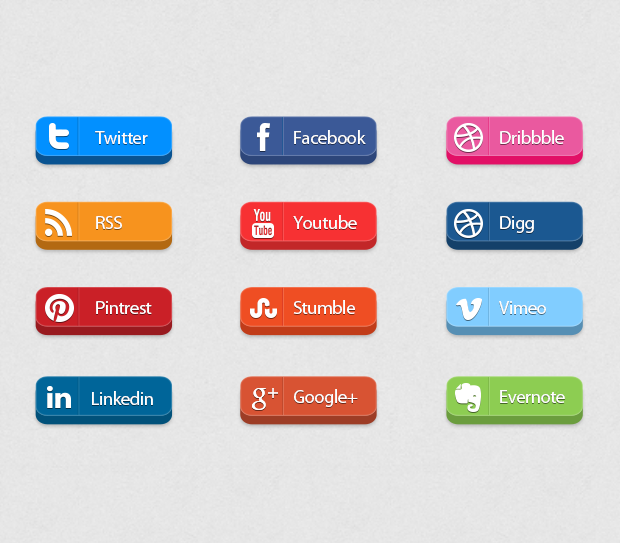 Top 3D Social Media Icon Buttons Free