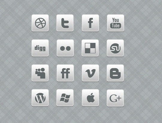 Awesome Black And White Social Media Icon Set Free