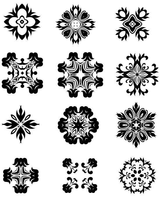 Free Beautiful Decorative Radial Vector Elements Set