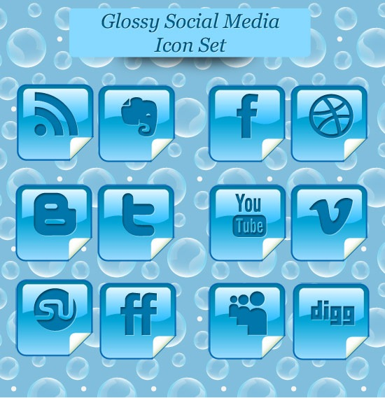 Free Glossy Beautiful Peel Over Social Media Icon Set
