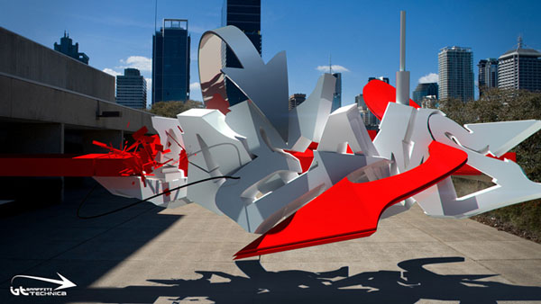 Awesome 3D Digital Graffiti of Brad Schwede Designs