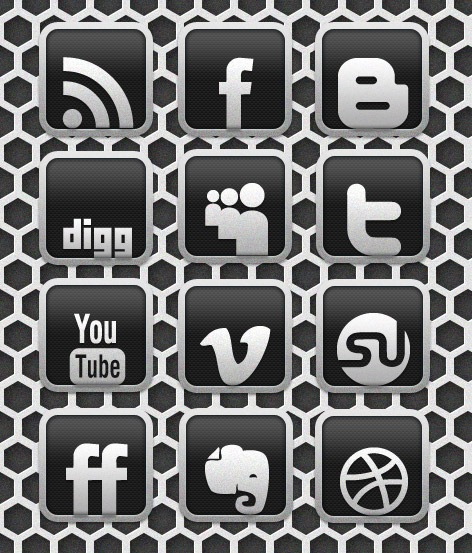 Awesome Carbon Chrome Social Media Icon Designs